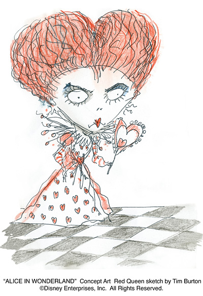 Red Queen, Sketch by Tim Burton