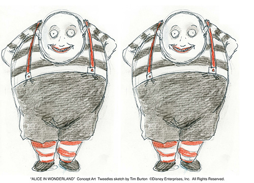 Trulala and Tralala, Sketch by Tim Burton